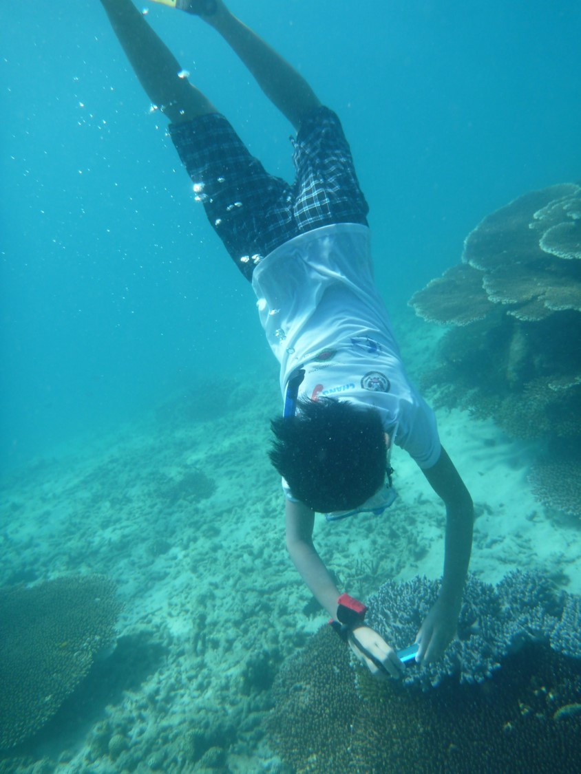 Biodiversity PEEK youth citizen scientist collecting coral photo data in Vietnam. Thanks to Paul Hamilton for photo!