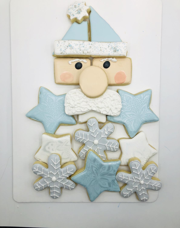 Santa platter blue, silver, white