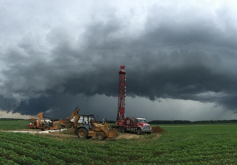 Hardwick Drilling Photo in Stormy Field.