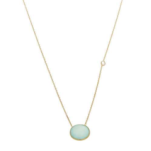 Aanya Classic Necklace in Aqua Chalcedony and White Topaz