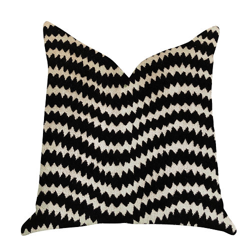 Jagged Fringe Luxury Throw Pillow in Black and Beige