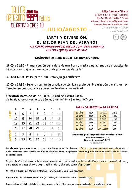 Verano Taller Artesano 2021_info JULIO y