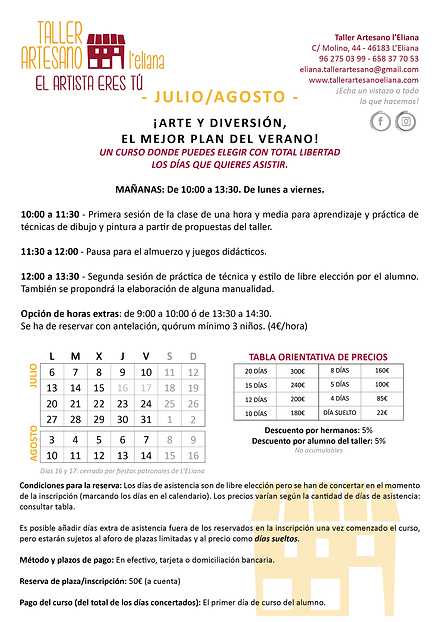 Verano Taller Artesano 2020_info JULIO y
