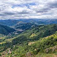 Les monts d'Ardèche depuis le château de Rochebonne