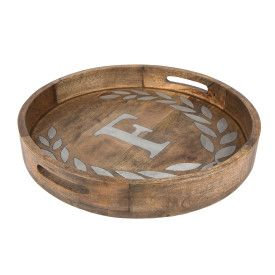 "WOOD/METAL 20"" ROUND TRAY ""F"""