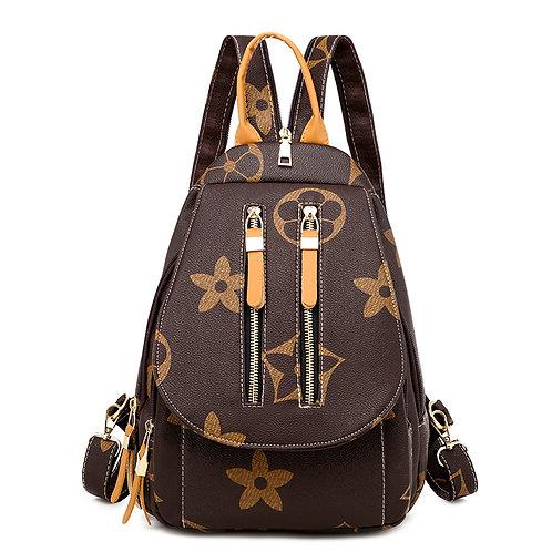 """Double Zipper """"Mini"""" Backpack (Tan)"""