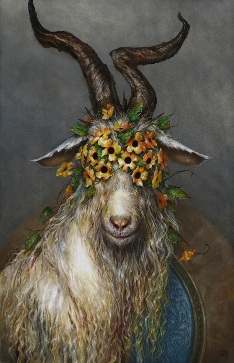 Esao Andrew goat with flowers on head