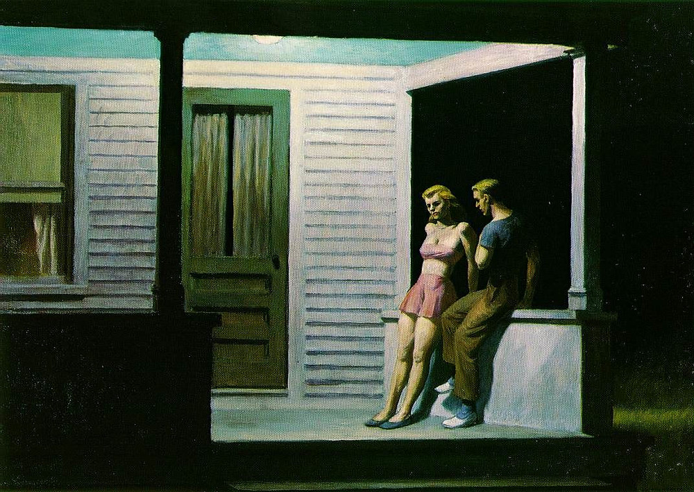 boy and girl on the porch at night