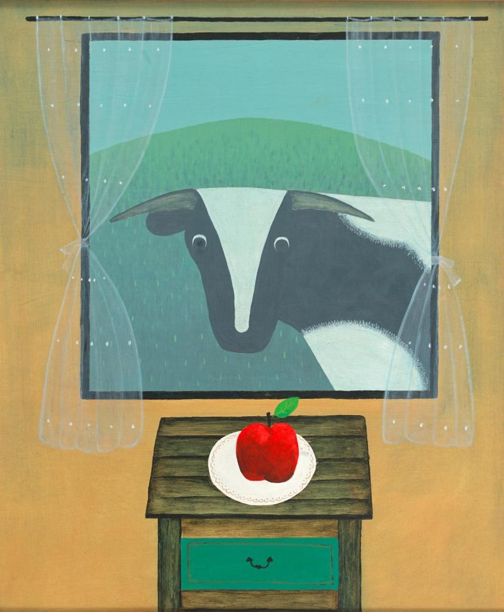 Ivan Durrant Cow looking at apple through window
