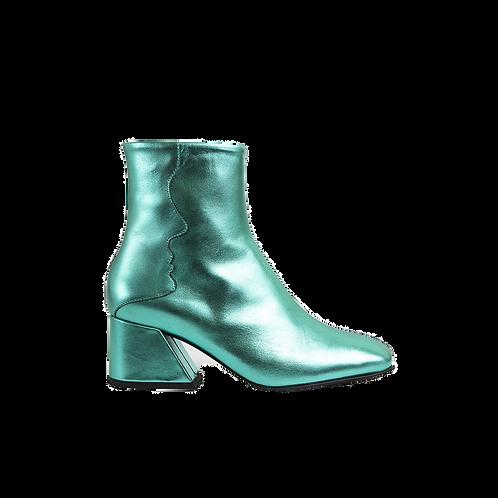 UNREAL FIELDS | Glaxy - Emerald Green Metallic Mid Heel Boots