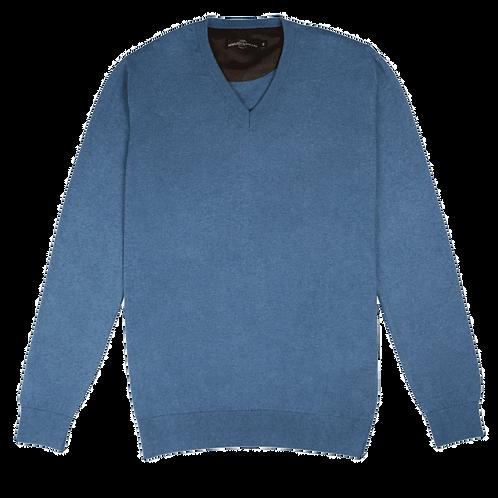 ARMAZÉM DAS MALHAS | V Neck Blue Pullover