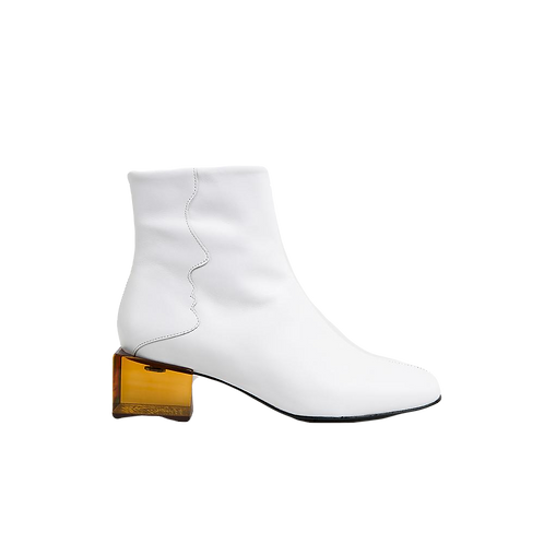 UNREAL FIELDS | Statuette - White Leather  Mid Heel Boots