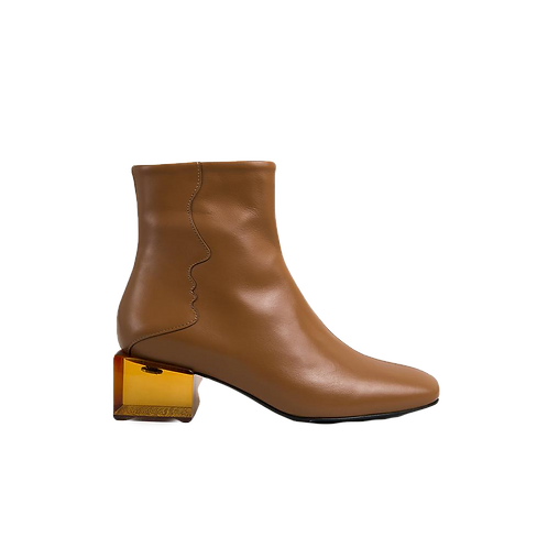 UNREAL FIELDS | Statuette - Camel Leather  Acrylic Heel Boots