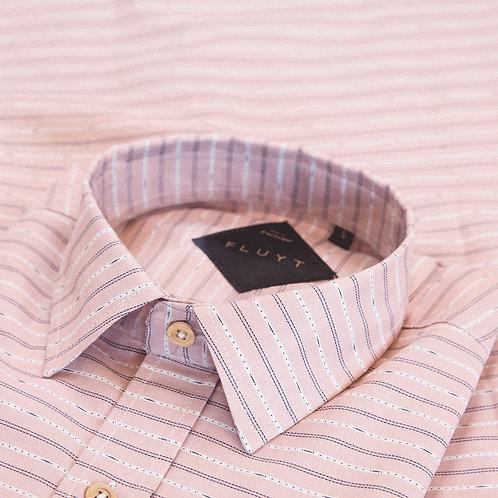 FLUYT | Pink Shirt With White Etnic Stripes
