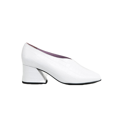 UNREAL FIELDS | Dale - White Leather Mid Heel Pumps