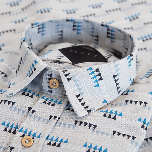 FLUYT | Grey Shirt With Triangles Pattern
