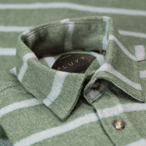 FLUYT | Green Flannel Shirt With Grey Stripes