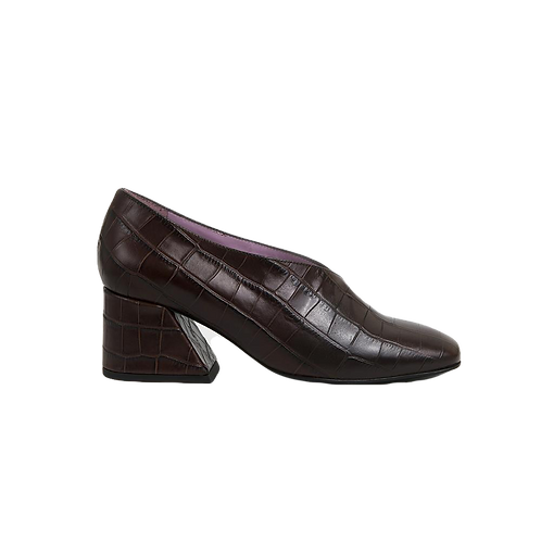 UNREAL FIELDS | Dale - Brown Leather Mid Heel Pumps
