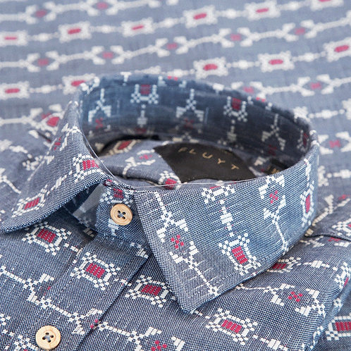 FLUYT | Blue Shirt With Etnic Pattern