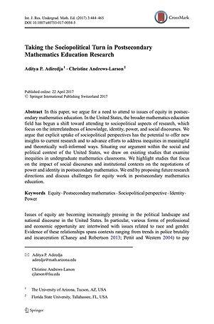 Adiredja & Andrews-Larson (2017) Sociopo