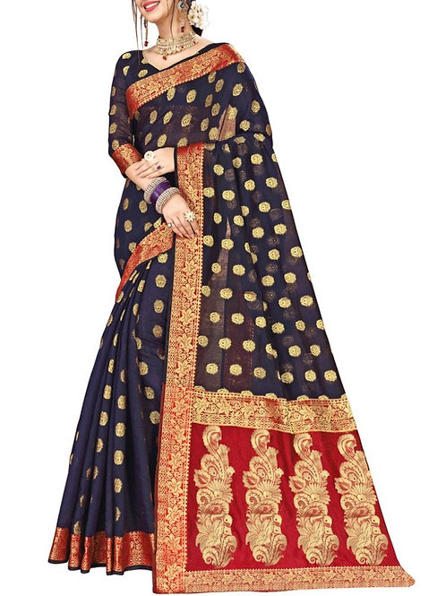 Magnetic Navy Blue Color Sarees Online India