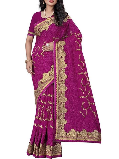 Fashionable Dark Pink Color Traditional Saree