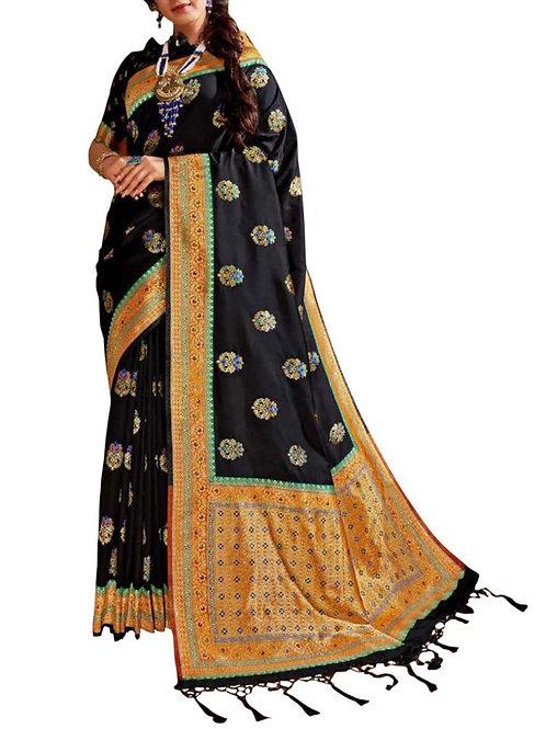 Attractive Black Rajasthani Saree