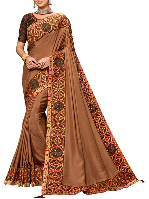 Glorious Brown Party Wear Sarees Online Sale
