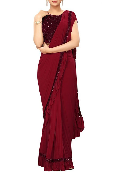 Mind-Blowing Maroon Color Designer Sarees With Price