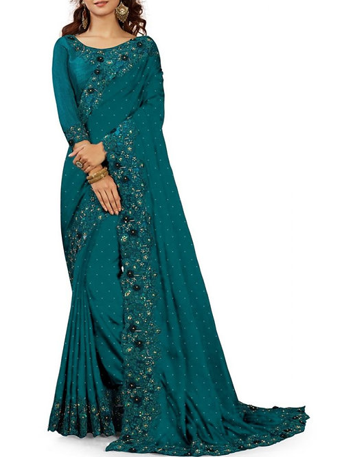Awesome Teal Blue Best Party Wear Sarees