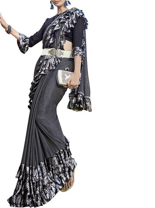 Amazing Grey Color Lycra Designer Saree