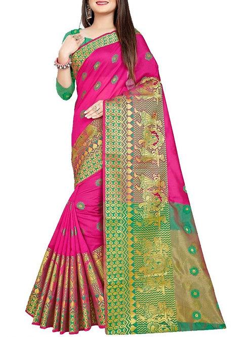 Excellent Pink Cotton Silk Sarees