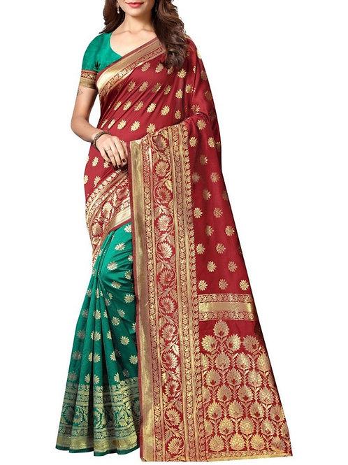 Fashionable Maroon And Rama Designer Reception Saree