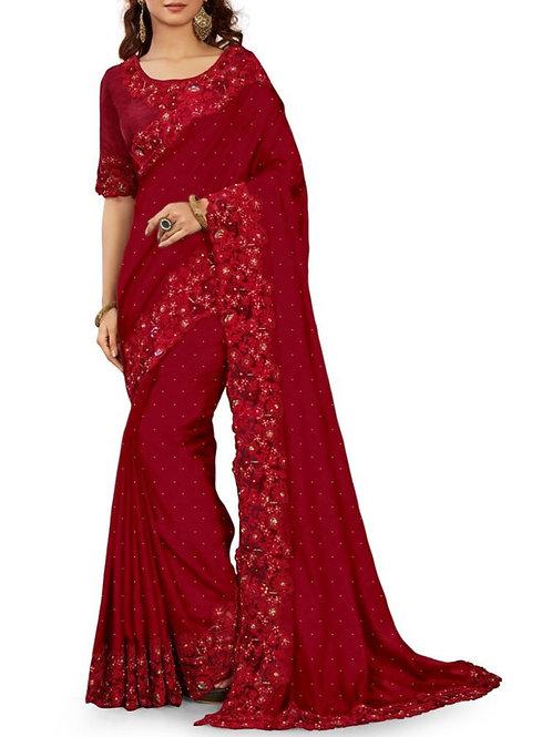 Awe-Inspiring Maroon Party Sarees Online Shopping