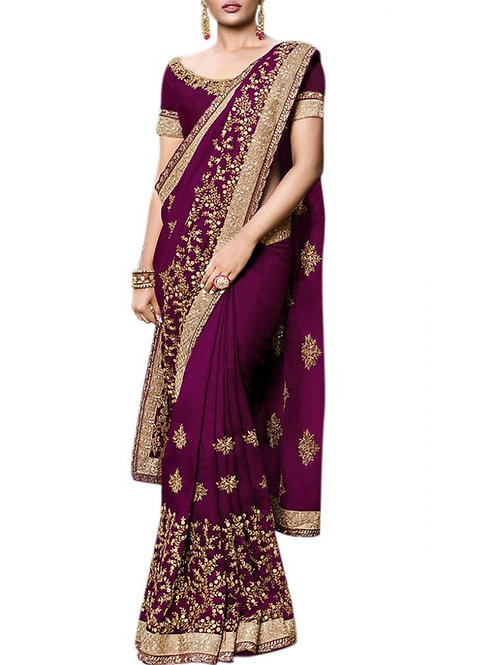Exciting Wine Fancy Saree With Price