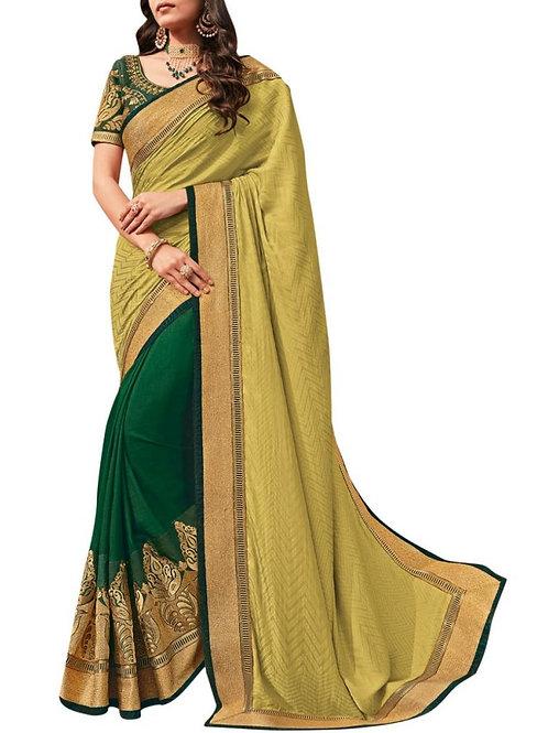 Dashing Yellow And Green Designer Wear Sarees