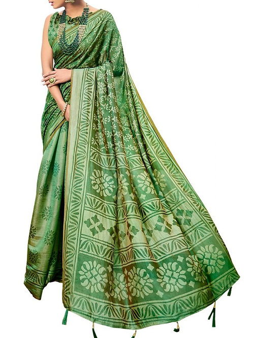 Magnetic Green Color Brasso Saree Online