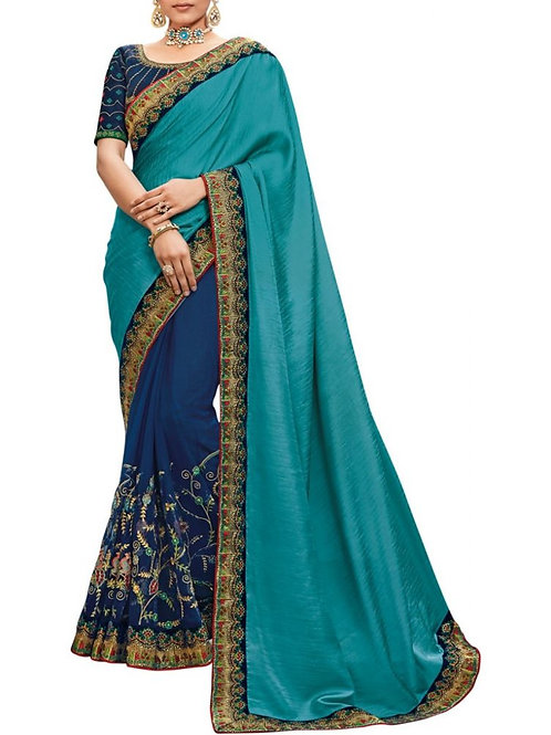 Fascinating Firozi And Blue Saree Collections Online