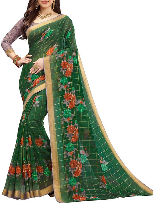 Mind-Blowing Dark Green Color Traditional Sarees Online