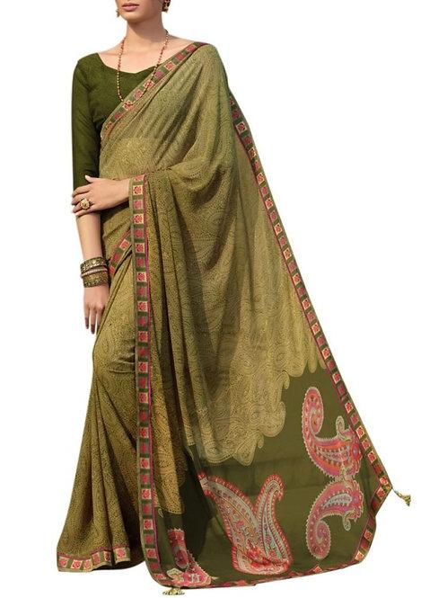 Breathtaking Olive Saree Blouse Patterns