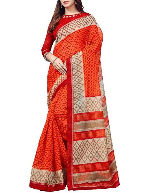 Divine Orange Color Indian Silk Sarees Online Shopping