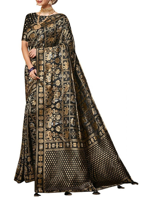 Cheery Black Silk Sarees Online India