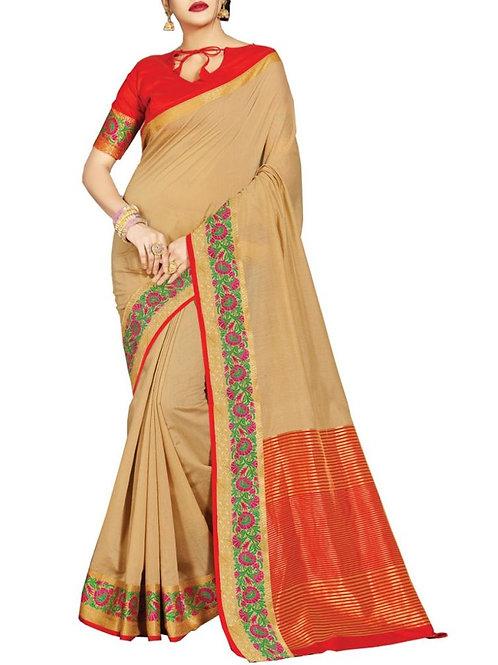 Cheery Beige Color New Sarees Online