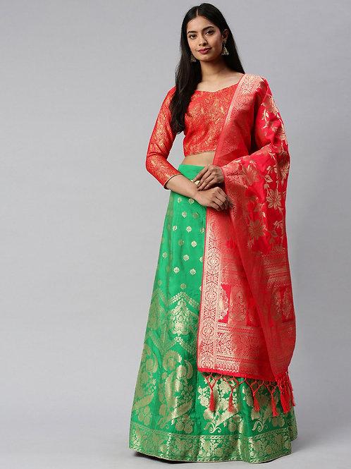 Red Color Banarasi Silk Wedding Lehenga Choli