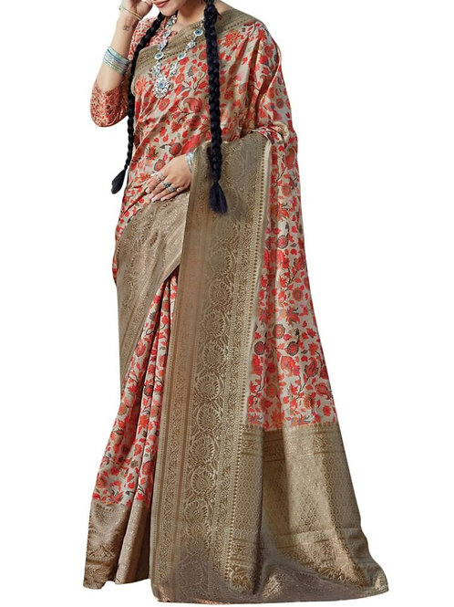 Eye-Popping Multi And Golden Online Saree Store
