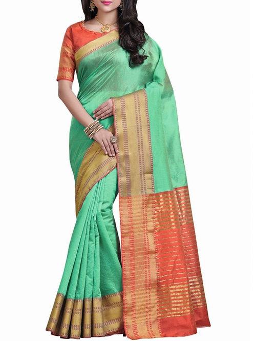 Delightful Sea Green Color Wedding Sarees Online Shopping