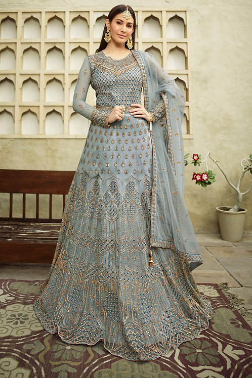 Latest Light  Blue Party Wear Embroidery Work Gown