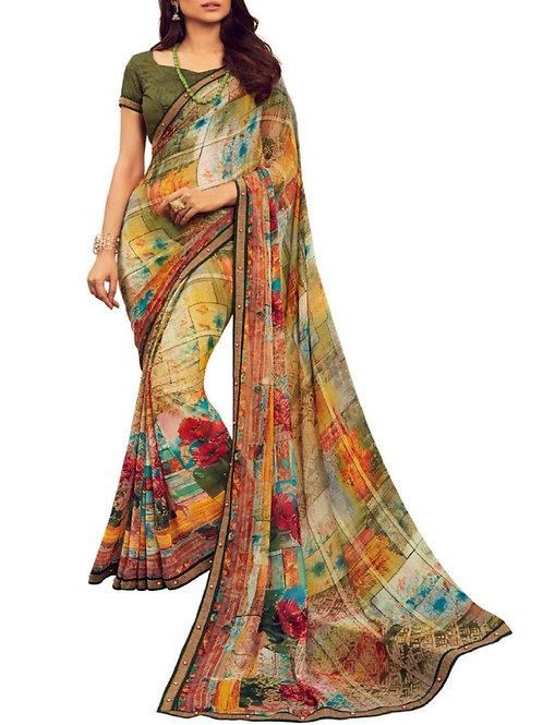 Majestic Multi Color Georgette Saree