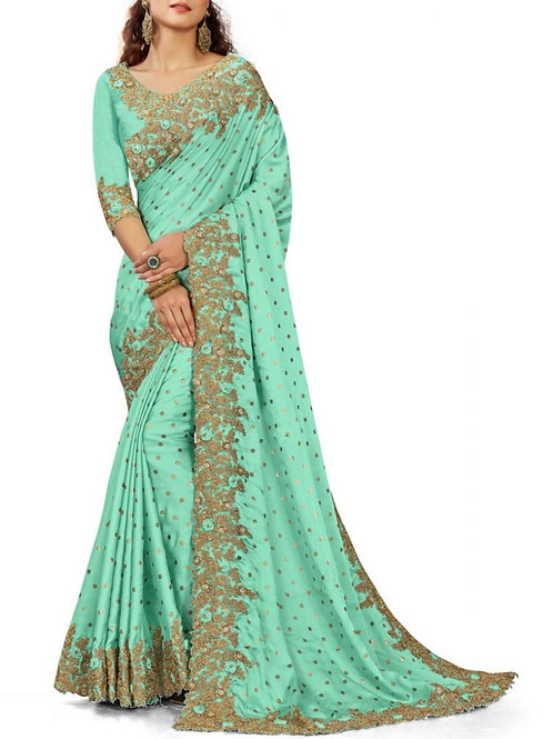 Awe-Inspiring Sky Blue Latest Sarees For Youngsters