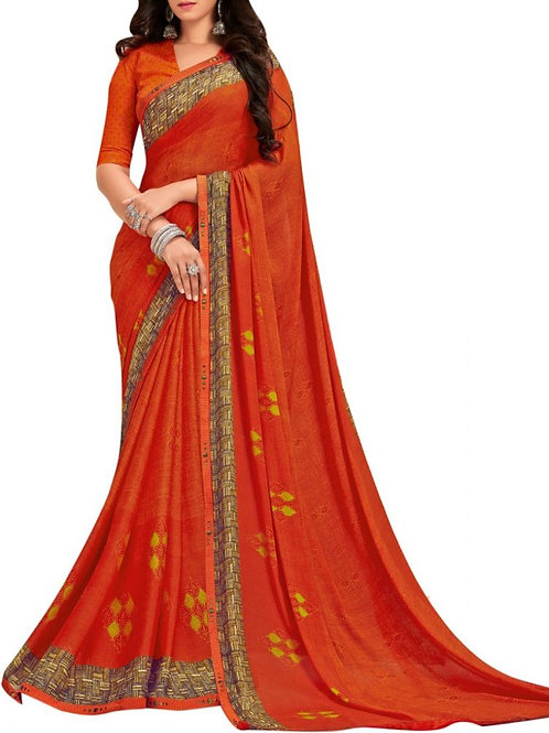Dazzling Orange Trendy Sarees